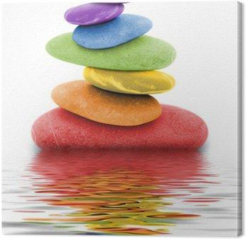 Tableau sur Toile Zen regenbogen kieselsteine im wasser