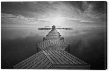 Tableau sur Toile Zig Zag dock au lever du soleil à Santiago de la Ribera, Mar Menor, Murcia
