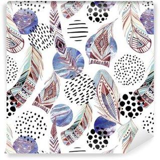 Vinyltapete Aquarell Stammes-Federn nahtlose Muster mit abstrakten Marmor und Grunge-Formen