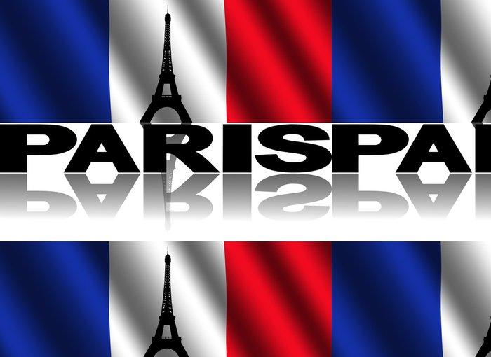 Vinyltapete Eiffelturm und Paris Text Französisch Flagge Illustration - Criteo
