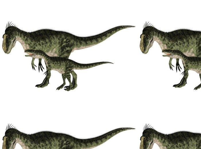 Vinyltapete Erwachsene und junge Monolophosaurus - Wandtattoo