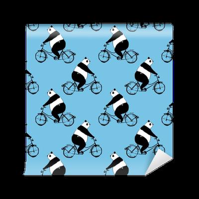 tapete nahtlose muster mit pandab r auf fahrrad schwarz wei bild auf blauem hintergrund. Black Bedroom Furniture Sets. Home Design Ideas