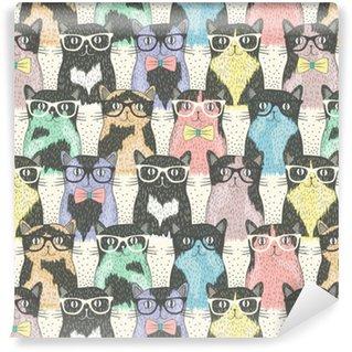 Vinyltapete Nahtloses Muster mit niedlichen Katzen hipster für Kinder