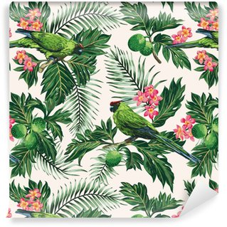 Vinyltapete Nahtloses tropisches Muster mit Blättern, Blumen und Papageien.