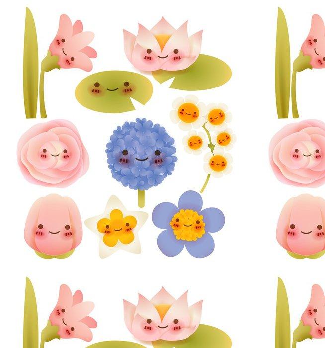 Vinyltapete Sammlung von niedlichen Blumen - Blumen