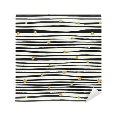Tapete schwarze pinsellinien und goldene punkte nahtloses for Schwarze tapete muster