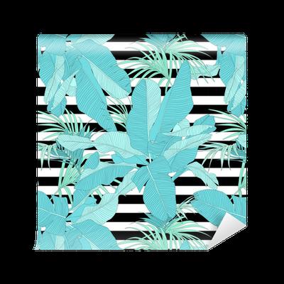tapete trendy tropisch stoff nahtlose muster palmbl tter auf schwarzen und wei en streifen. Black Bedroom Furniture Sets. Home Design Ideas