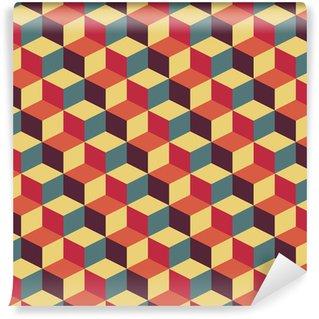 Pixerstick Tapet Abstrakt retro geometriskt mönster