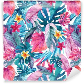 Akvarel eksotiske blade og blomster baggrund. Vinyltapet