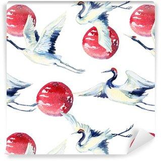 Pixerstick Tapet Akvarell asiatisk kran fågel seamless