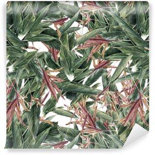 Vinyltapet Akvarellmålning av löv och blommor, seamless