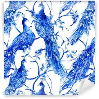 Pixerstick Tapet Blå vattenfärg blomma vintage seamless med påfåglar