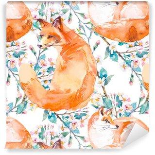 Pixerstick Tapet Djurliv mönster. Fox och blommande grenar. .
