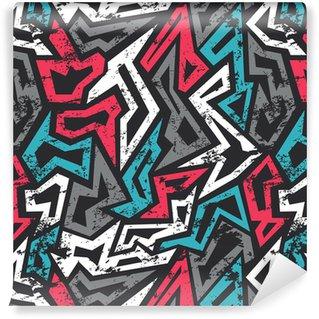 Pixerstick Tapet Färgad graffiti sömlösa mönster med grunge effekt