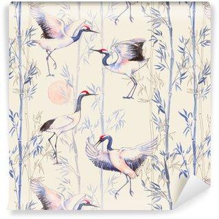 Pixerstick Tapet Handritade akvarell seamless med vita japanska dans kranar. Upprepad bakgrund med känsliga fåglar och bambu