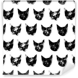 Vinyltapet Katt huvud grunge tryck seamless mönster i svart och vitt, vektor