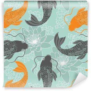 Vinyltapet Kinesiska karpar sömlösa mönster