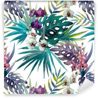Vinyltapet Mönster orkidé hibiskus lämnar vattenfärg tropikerna