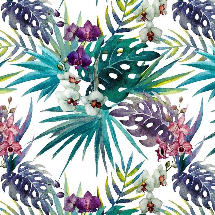 Pixerstick Tapet Mönster orkidé hibiskus lämnar vattenfärg tropikerna - iStaging