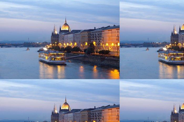 Vinyltapet Natt utsikt över Budapest - Industri