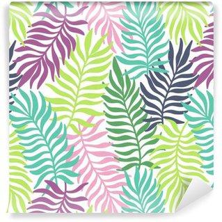 Vinyltapet Seamless exotiskt mönster med palmblad