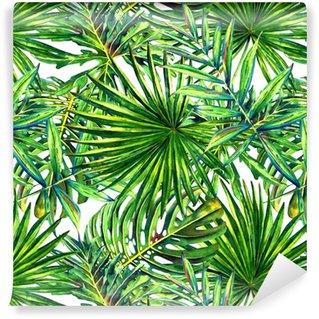 Vinyltapet Sømløs blomstermønster med akvarell tropiske palmeblader. jungel løvverk på hvit bakgrunn. tekstil design.