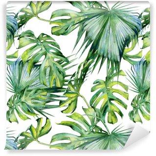 Vinyltapet Sömlös vattenfärg illustration av tropiska löv, tät djungel. handmålad. banner med tropisk sommartid kan användas som bakgrundsstruktur, inslagspapper, textil- eller tapetdesign.