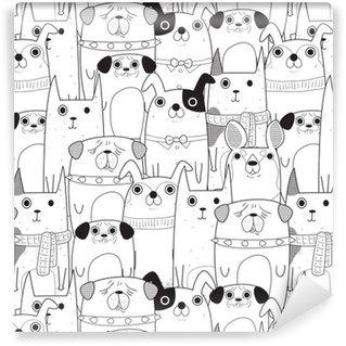 Vinyltapet Sömlösa Hundar mönster
