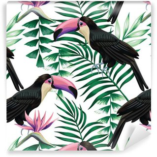 Pixerstick Tapet Toucan tropisk mönster