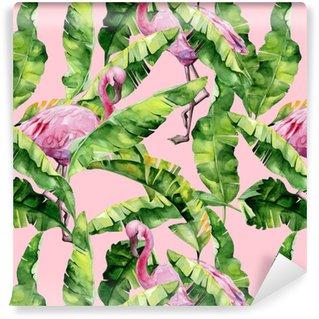Vinyltapet Tropiska löv, tät djungel. banan palm lämnar sömlös vattenfärg illustration av tropiska rosa flamingo fåglar. trendigt mönster med tropisk sommartid. exotisk hawaii konst bakgrund.