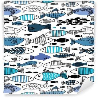Pixerstick Tapet Underwater seamless med fiskar. Seamless mönster kan användas för bakgrundsbilder, webbsidor bakgrunder