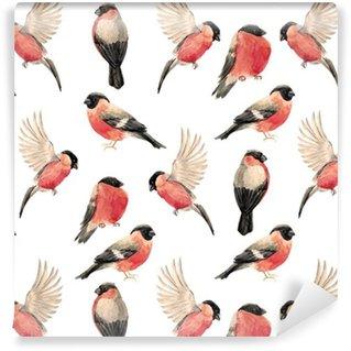 Pixerstick Tapet Vattenfärg domherre fågel mönster