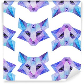Pixerstick Tapet Vattenfärg kosmiska djur. Handritad illustration
