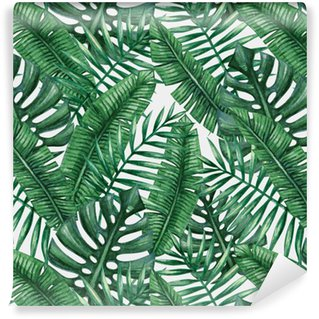 Vinyltapet Vattenfärg tropisk palmblad seamless. Vektor illustration.