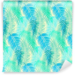 Eksoottisia trooppisia palmulehtiä. saumaton abstrakti vektori kuvio Vinyylitapetti