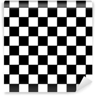 Musta ja valkoinen ruudullinen laatat tekstuuri Vinyylitapetti
