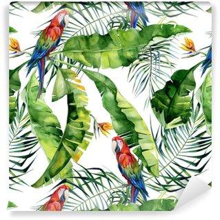Saumaton akvarelli kuva trooppisista lehdistä, tiheä viidakko. pilkottava macaw-papukaija. strelitzia reginae kukka. käsinmaalattu. kuvio tropic summertime motiivi. kookospalmu lehdet. Vinyylitapetti