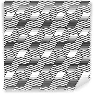 Saumaton geometrinen kuvio kuutioilla. Vinyylitapetti