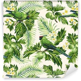 Saumaton trooppinen kuvio lehtiä, kukkia ja papukaijoja Vinyylitapetti