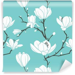 Sininen magnolia kuvio Vinyylitapetti