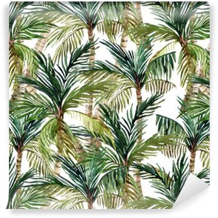 Vesiväri palmu saumaton malli Vinyylitapetti