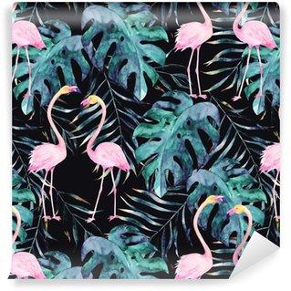 Vesiväri saumaton malli. trooppinen tuloste flamingoilla. käsin piirretty kuva Vinyylitapetti