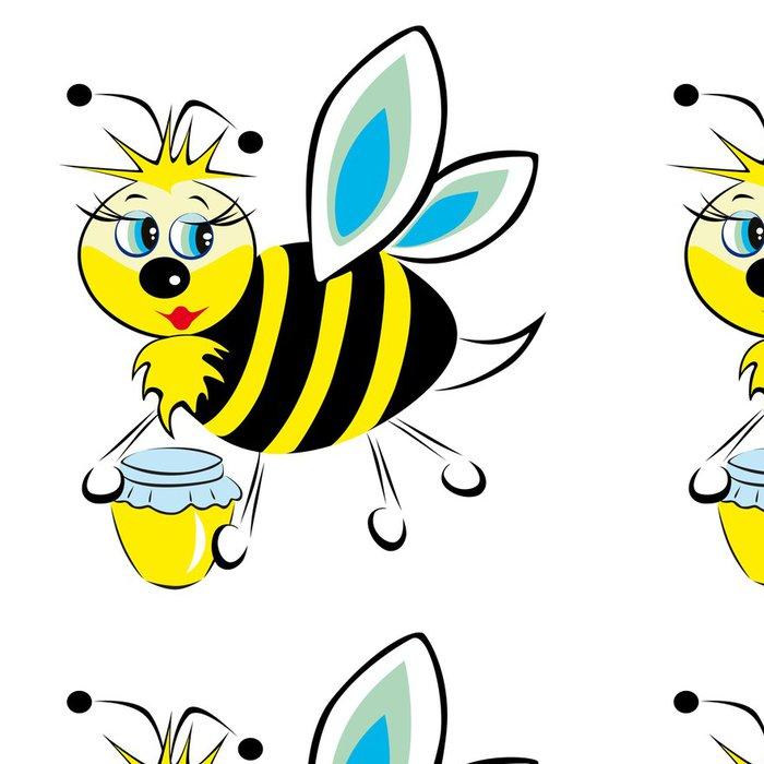 Tapeta Pixerstick Пчела несет в лапах баночку с медом - Ostatní Ostatní