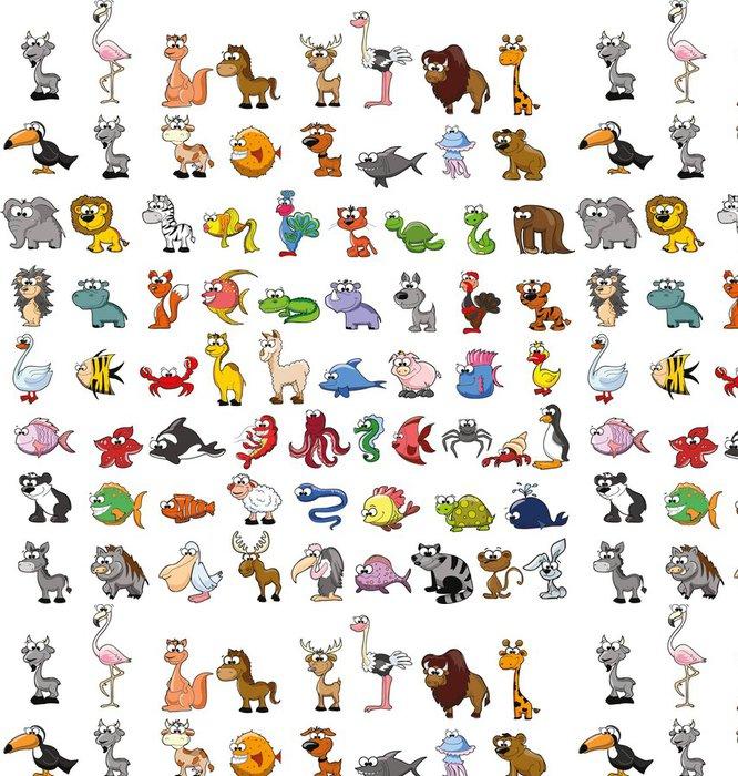 Tapeta Pixerstick Большой набор мультяшных животных, вектор - Savci