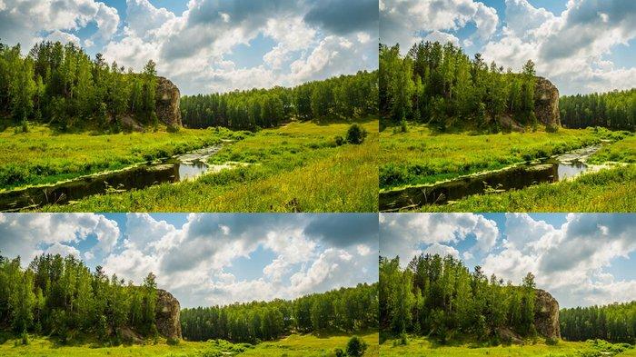 Tapeta Pixerstick Живописный луг с ручьем в солнечный день - Roční období