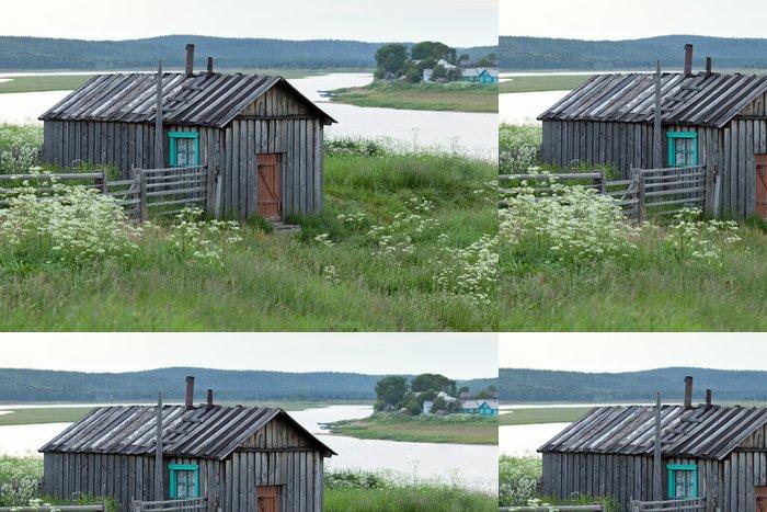 Tapeta Pixerstick Деревянный сарай на высоком берегу реки Варзуга. - Prázdniny
