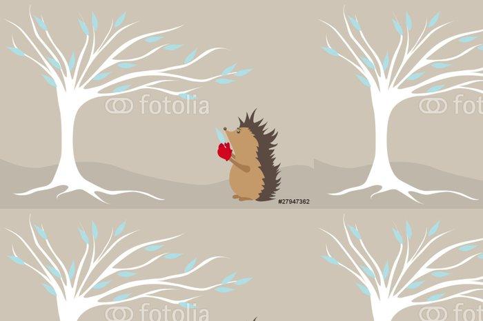 Tapeta Pixerstick Ежик и зима - Savci