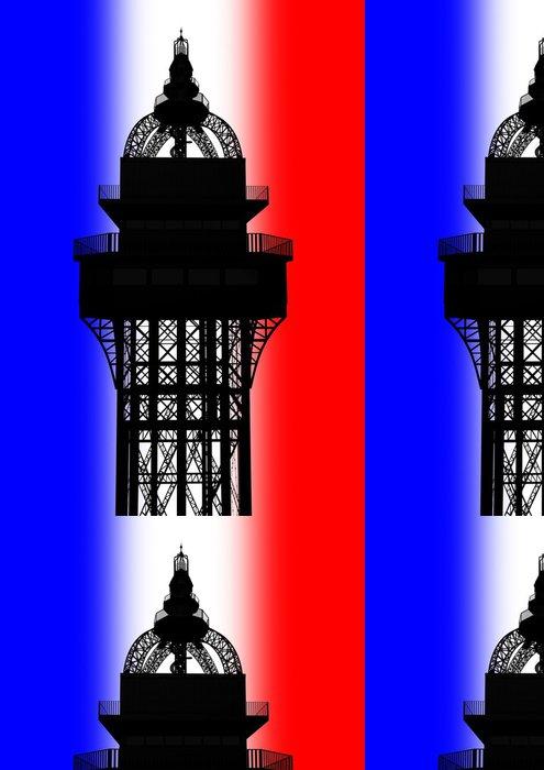 Vinylová Tapeta 3D Eiffelova věž Top vykreslování na francouzskou vlajku - Památky
