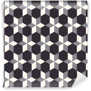 Vinylová Tapeta 3D geometrický bezešvé vzor v béžové, šedé a černé odstíny