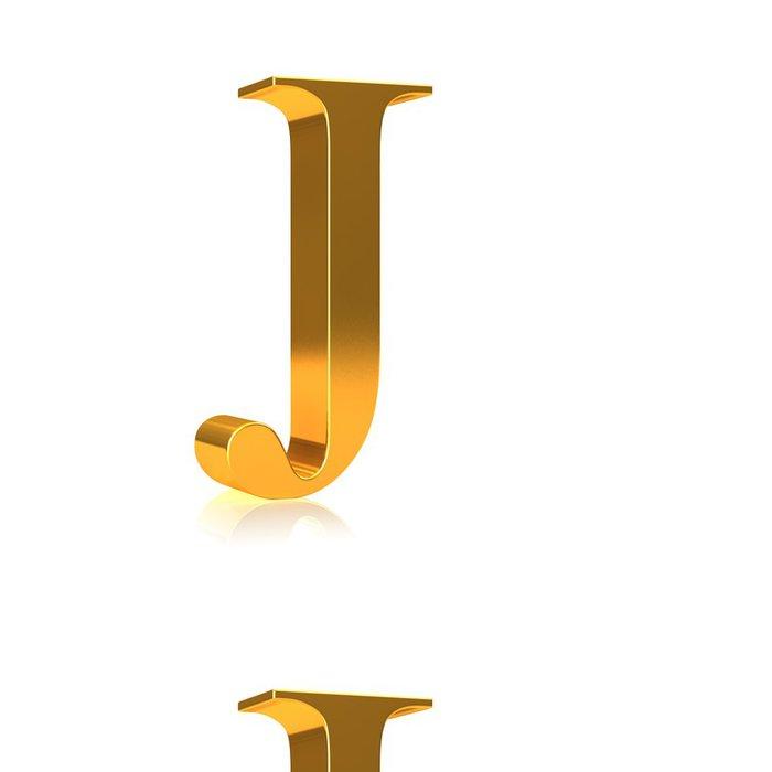 """Tapeta Pixerstick 3d Gold písmeno """"J"""" - Značky a symboly"""
